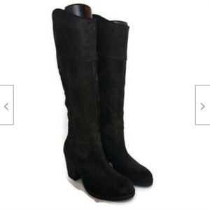 Guess black tall suede heels boots